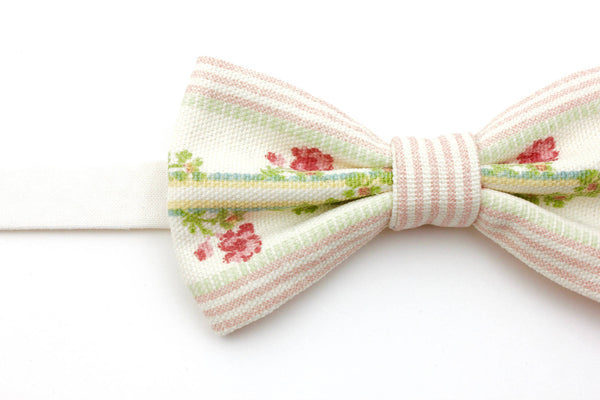 Pink & Cream Floral Stripe Bow Tie