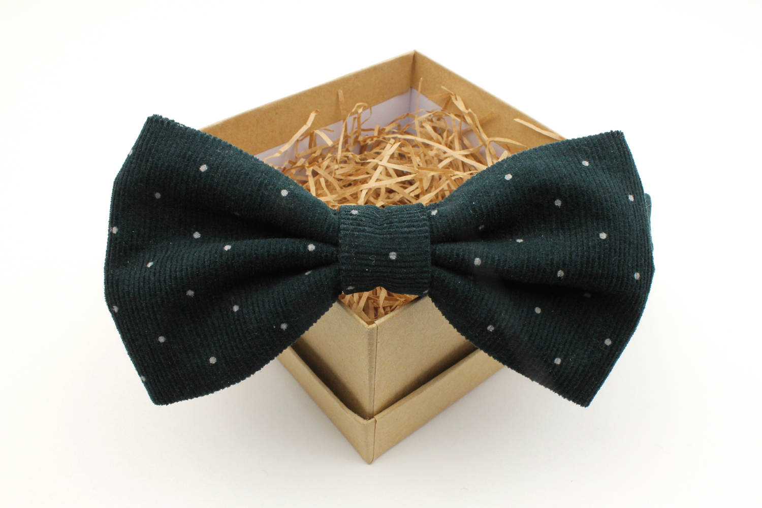 Dark Green Polka Dot Corduroy Bow Tie