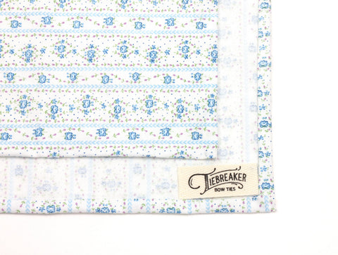 White & Blue Floral Pocket Square