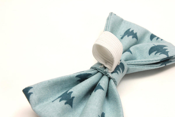 Blue Teal Tree Dog Bow Tie