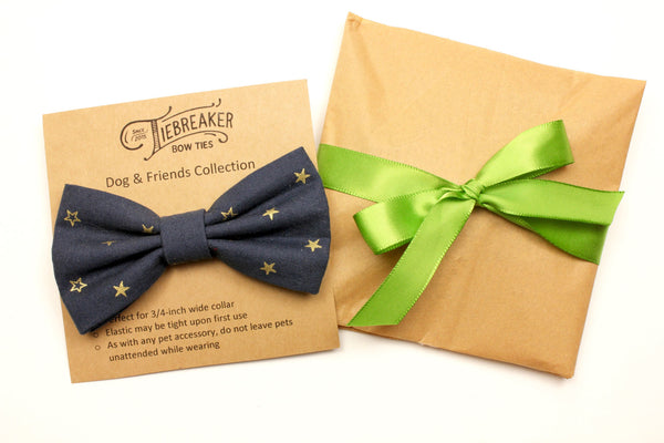 Navy and Gold Star Dog Bow Tie
