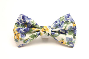 Blue and Gold Floral Pet Bow Tie