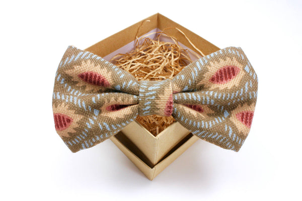 Grey Brown Abstract Print Bow Tie
