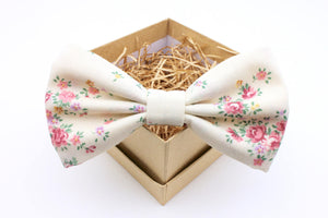 Cream and Pink Floral Bow Tie