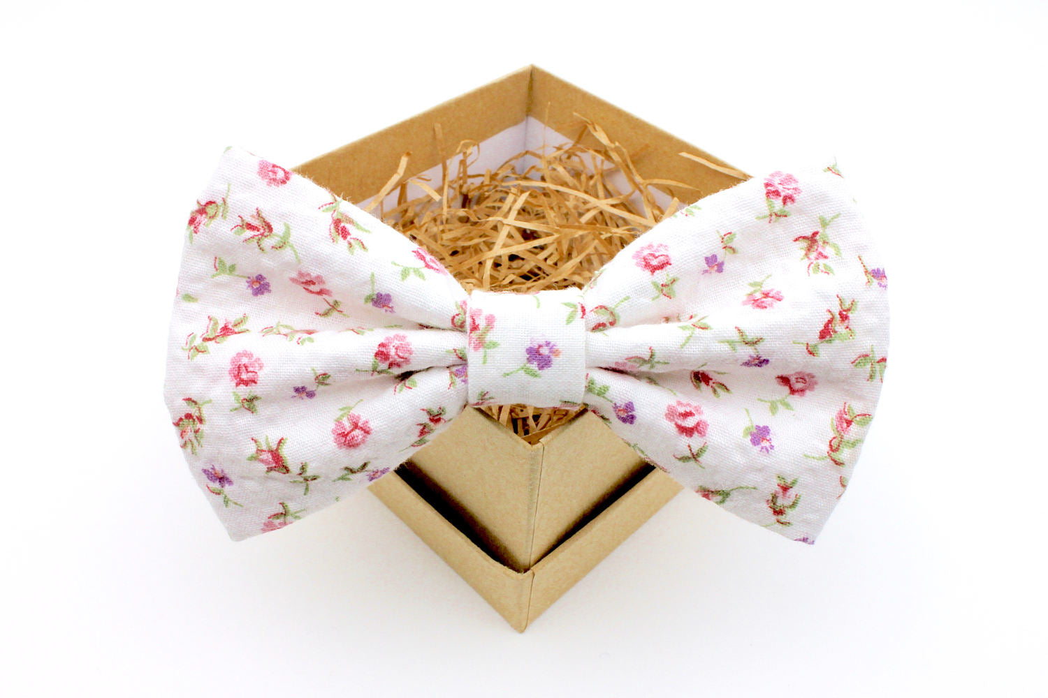 Pink & Purple Floral Seersucker Bow Tie