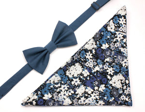 Teal Bow Tie and Blue & Grey Floral Pocket Square Gift Set