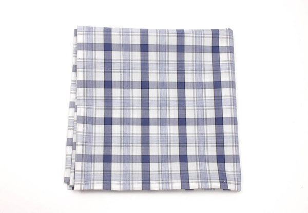 Blue and White Plaid Pocket Square