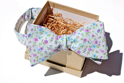 Grey & Purple Floral Bow Tie
