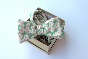 Green Floral Brushed Cotton Bow Tie