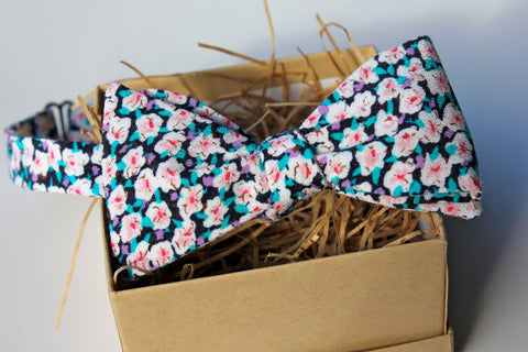 Bright Pink, Purple, and Blue Floral Bow Tie