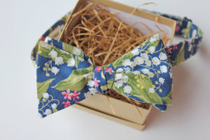 Blue and Green Lily of the Valley Floral Bow Tie