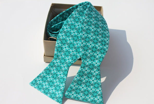 Teal Cotton Bow Tie