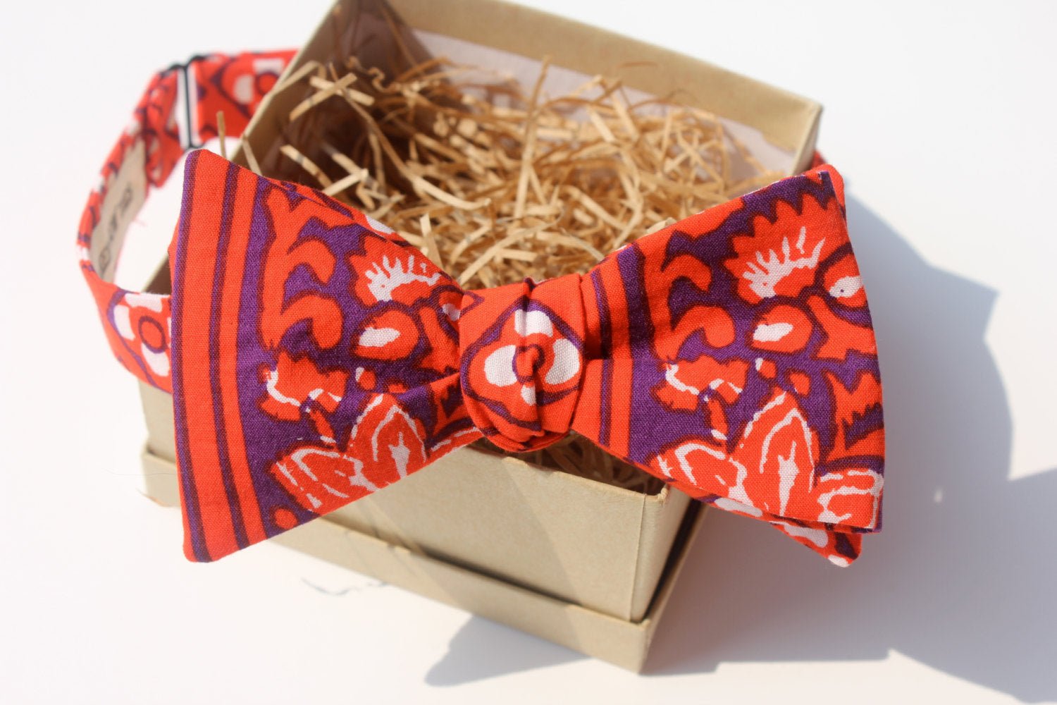 Dual Pattern Red & Purple Bow Tie