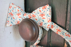 Cream and Orange Floral Bow Tie