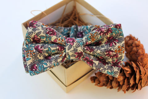 Maroon and Teal Floral Corduroy Bow Tie