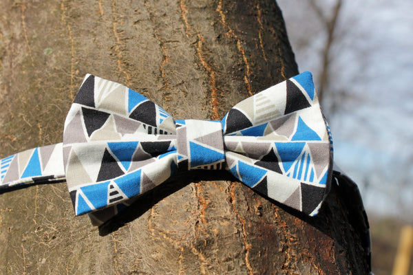 Blue and Grey Triangle Bow Tie