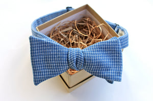 Blue Woven Cross Bow Tie