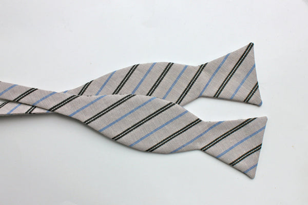 Grey & Blue Striped Bow Tie