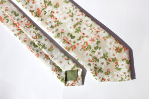 Beige and Green Floral Skinny Tie