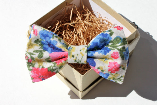 Bright Pink & Blue Floral Bow Tie