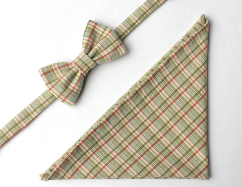 Green Plaid Bow Tie & Pocket Square Gift Set