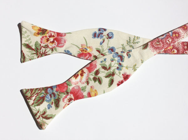 Cream Floral Pansy Bow Tie