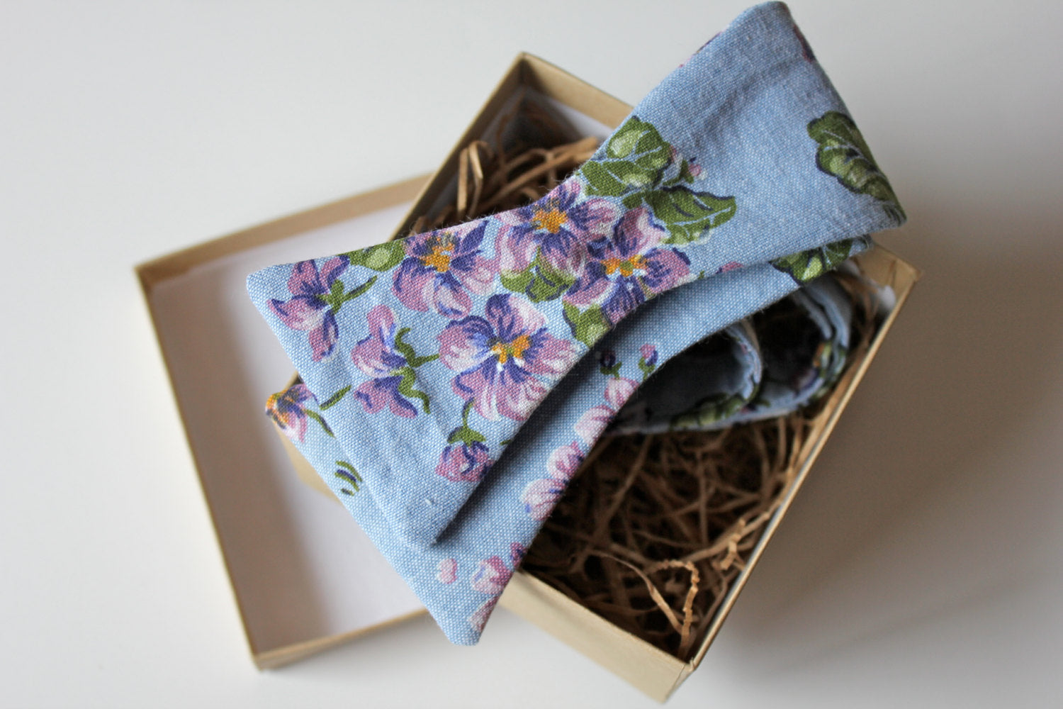 Light Denim and Purple Floral Bow Tie
