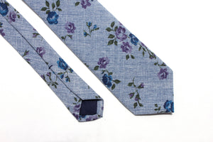 Blue Floral Chambray Skinny Tie