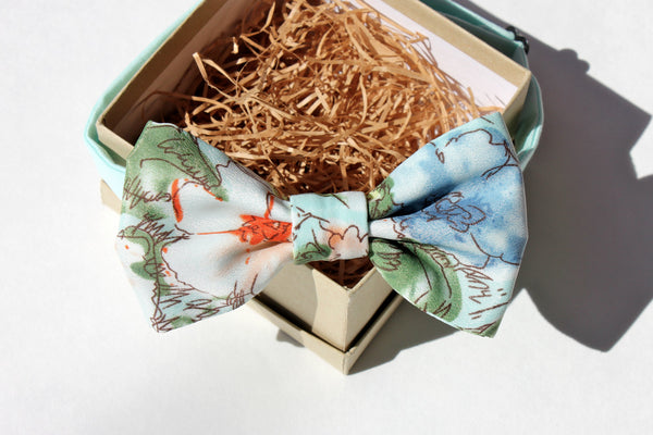 Mint and Peach Floral Bow Tie
