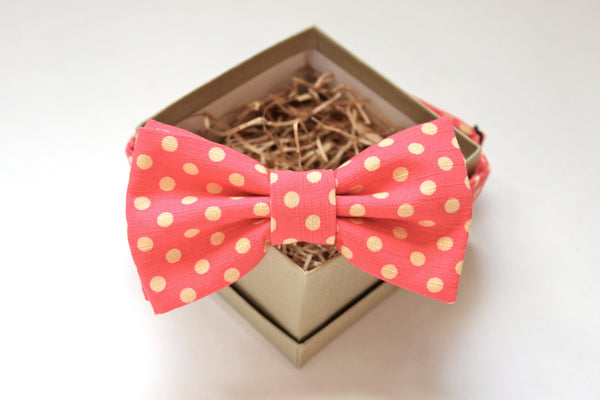 Bright Pink & Yellow Polka Dot Bow Tie