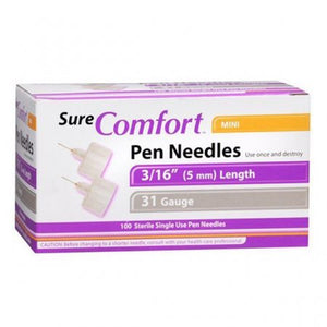 Allison Medical Sure Comfort Pen Needles 31g  (mm) mini Box of 100 (Please choose a size of needle)