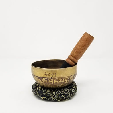 "HAND BEATEN TIBETAN SINGING BOWL 4"" WITH MEDICINE BUDDHA"