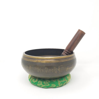 Tibetan Singing Bowl with Five Dhayani Buddha (Meditating Buddha) 7.25""