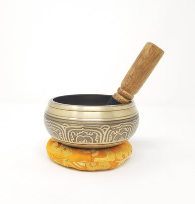 Tibetan Singing Bowl with Five Dhayani Buddha 4""