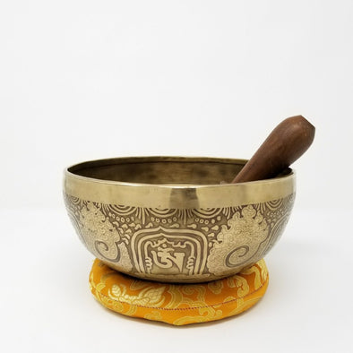 "9"" Tibetan Singing Bowl with Hand Extched Tara and Mantra"