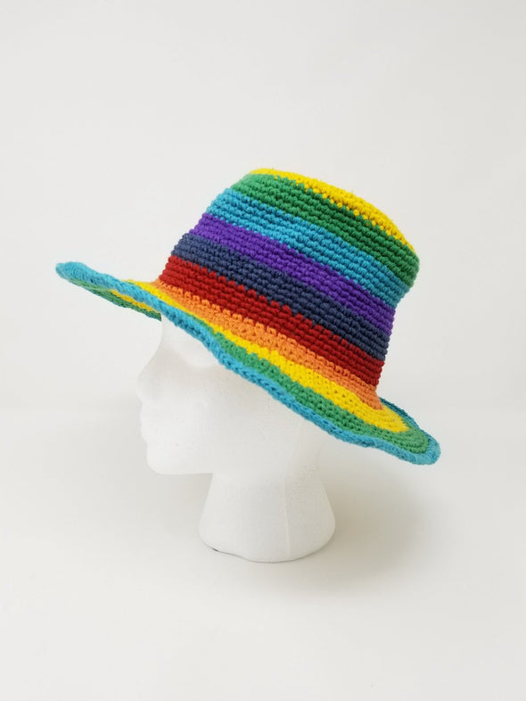 Cotton Hand Knitted Rainbow Hat