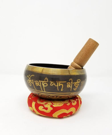 Tibetan Singing Bowl with Mantra 4.5""