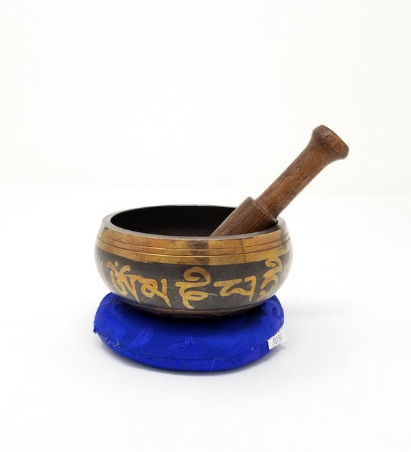 "Tibetan Singing Bowl 3"" with Double Dorje Symbol"