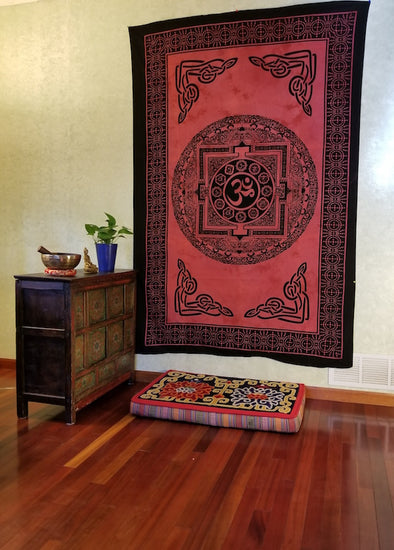 COTTON OM AND MANDALA TAPESTRY