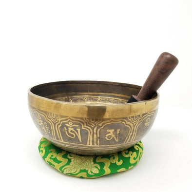 Hand beaten Tibetan Singing bowl with Medicine Buddha 9""