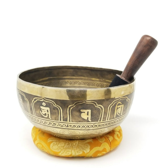 "9"" TIBETAN SINGING BOWL WITH HAND ETCHED TARA AND MANTRA"