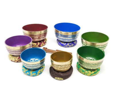 Colorful Tibetan Singing Bowl Set of 7pcs