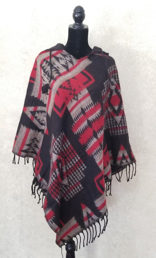 COTTON AND ACRYLIC WOOL HOODED PONCHO