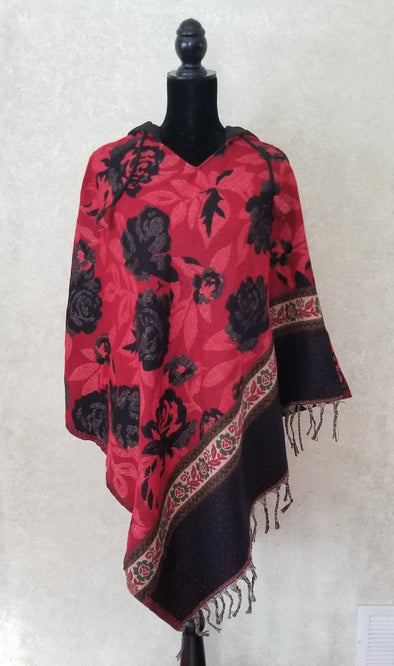 COTTON AND ACRYLIC WOOL HOODED PONCHO-ROSE PRINT
