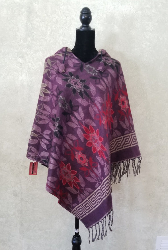 COTTON AND ACRYLIC WOOL HOODED PONCHO-FLOWER PRINT