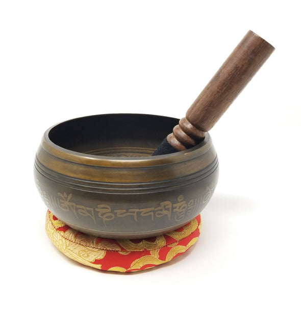 TIBETAN SINGING BOWL WITH EIGHT AUSPICIOUS SIGN 5.5
