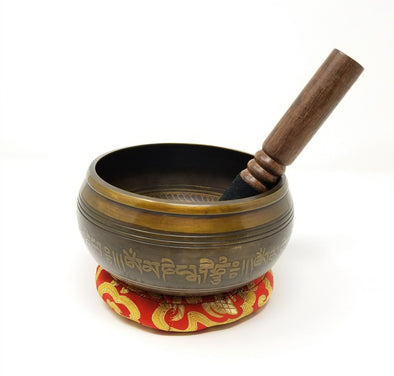 TIBETAN SINGING BOWL WITH FIVE DHAYANI BUDDHAS 5.5""