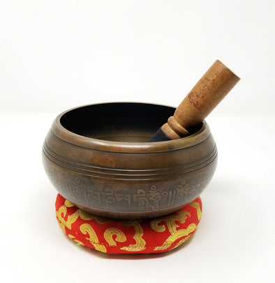 TIBETAN SINGING BOWL WITH EIGHT AUSPICIOUS SIGN 4.75""