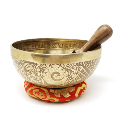 HANDBEATEN TIBETAN SINGING BOWL WITH TARA