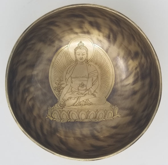 HAND BEATEN TIBETAN SINGING BOWL WITH HEALING BUDDHA 8""